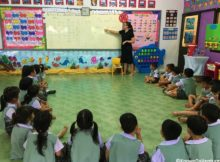 English class for kindergarteners in Thailand, TEFL, teaching english www.knowntoventure.com Jessie Bender