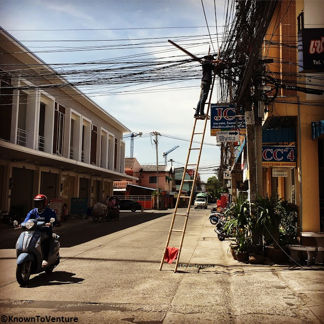 A perfect example of the safety practices and electrical wiring in Thailand. www.knowntoventure.com