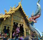 The front of the Rong Sear Tean Temple complete with dragon guards. Chiang Rai Thailand www.knowntoventure.com