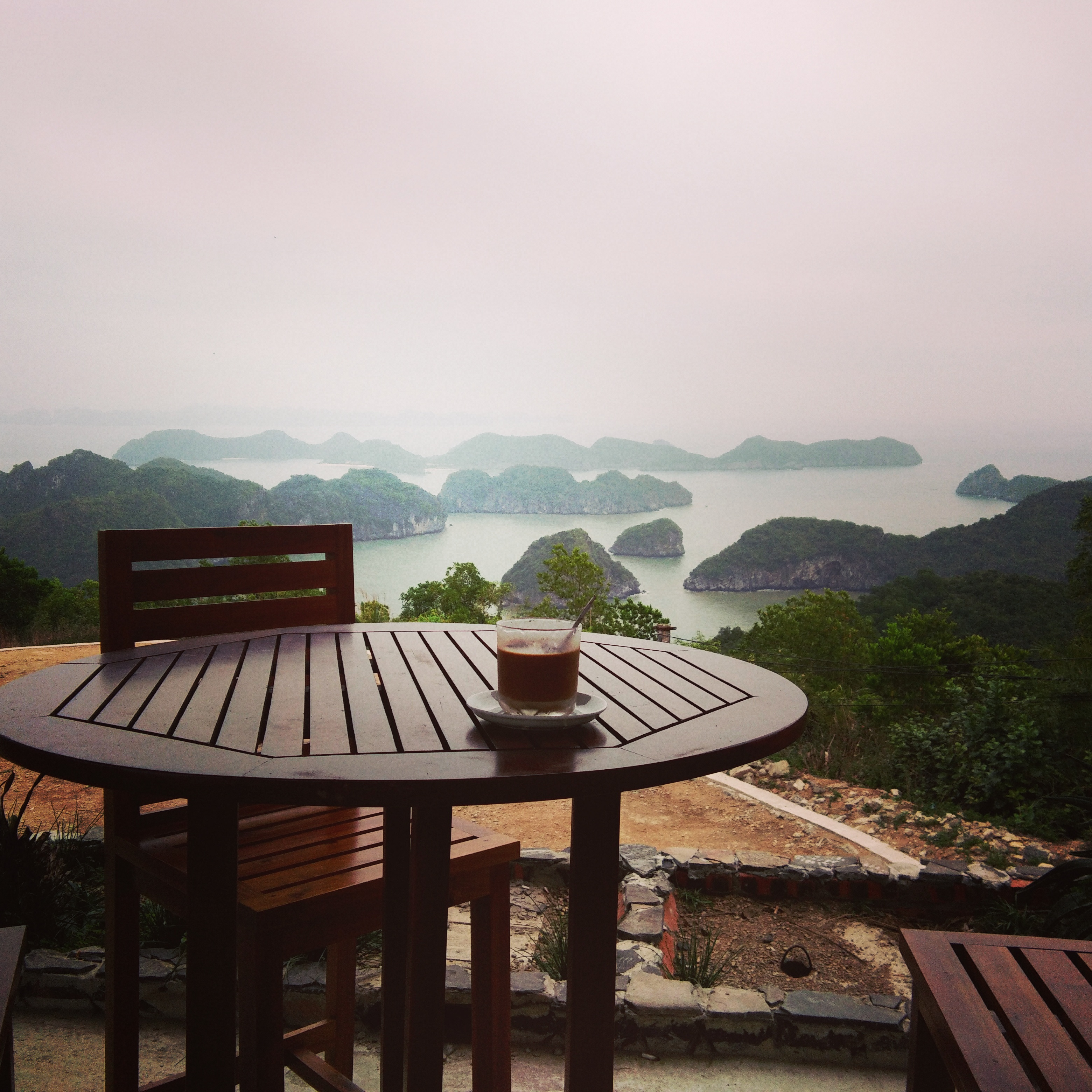 The view of Halong Bay from a cafe in Cannon Fort Cat Ba Vietnam www.knowntoventure.com
