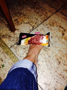Ice cream sandwiching my foot, aka couldn't find a proper ice pack, so I did what I had to do.. www.knowntoventure.com