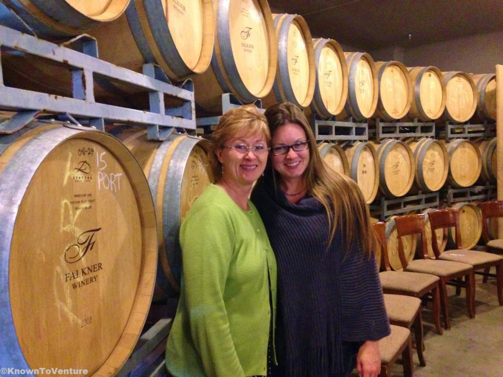 Wine tasting at Falkner Winery, Temecula, CA Jessie Bender with www.knowntoventure.com Georgianne Holland