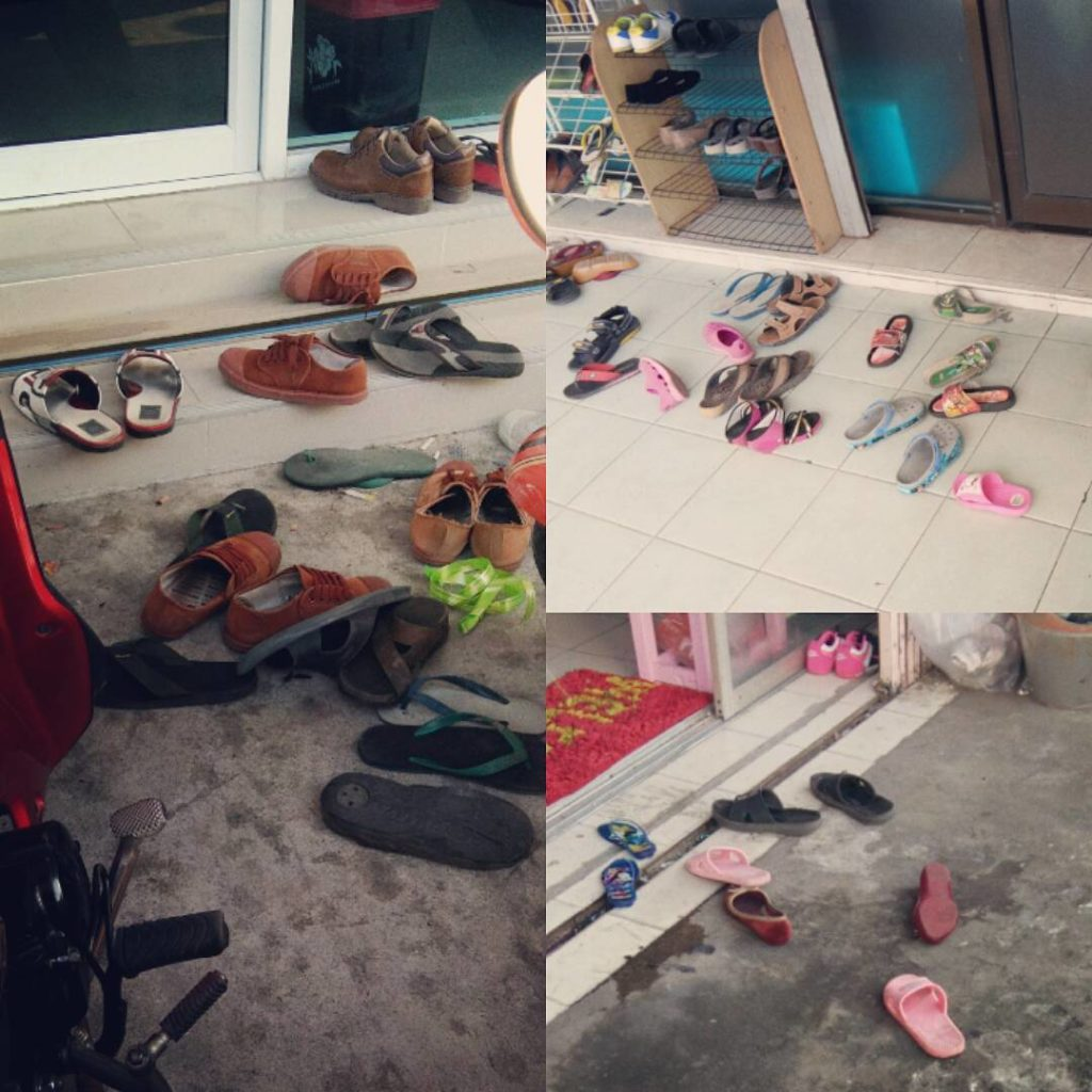 Shoes outside shops in Thailand, where it is polite to remove your shoes before entering some homes and shops. www.knowntoventure.com