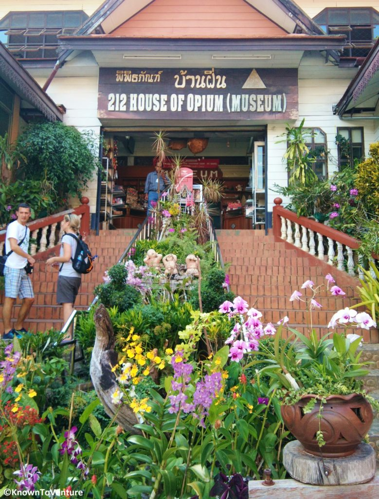 The colorful entrance to a dark museum all about opium and the drug trade in Thailand. Chiang Rai Opium Museum