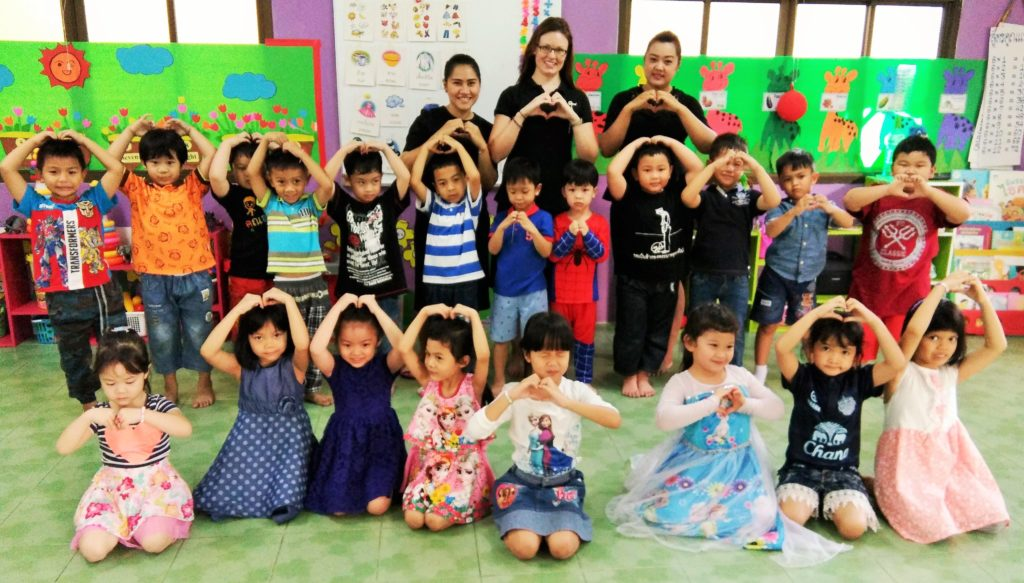 Lots of little hearts in a Thai kindergarten group class www.knowntoventure.com